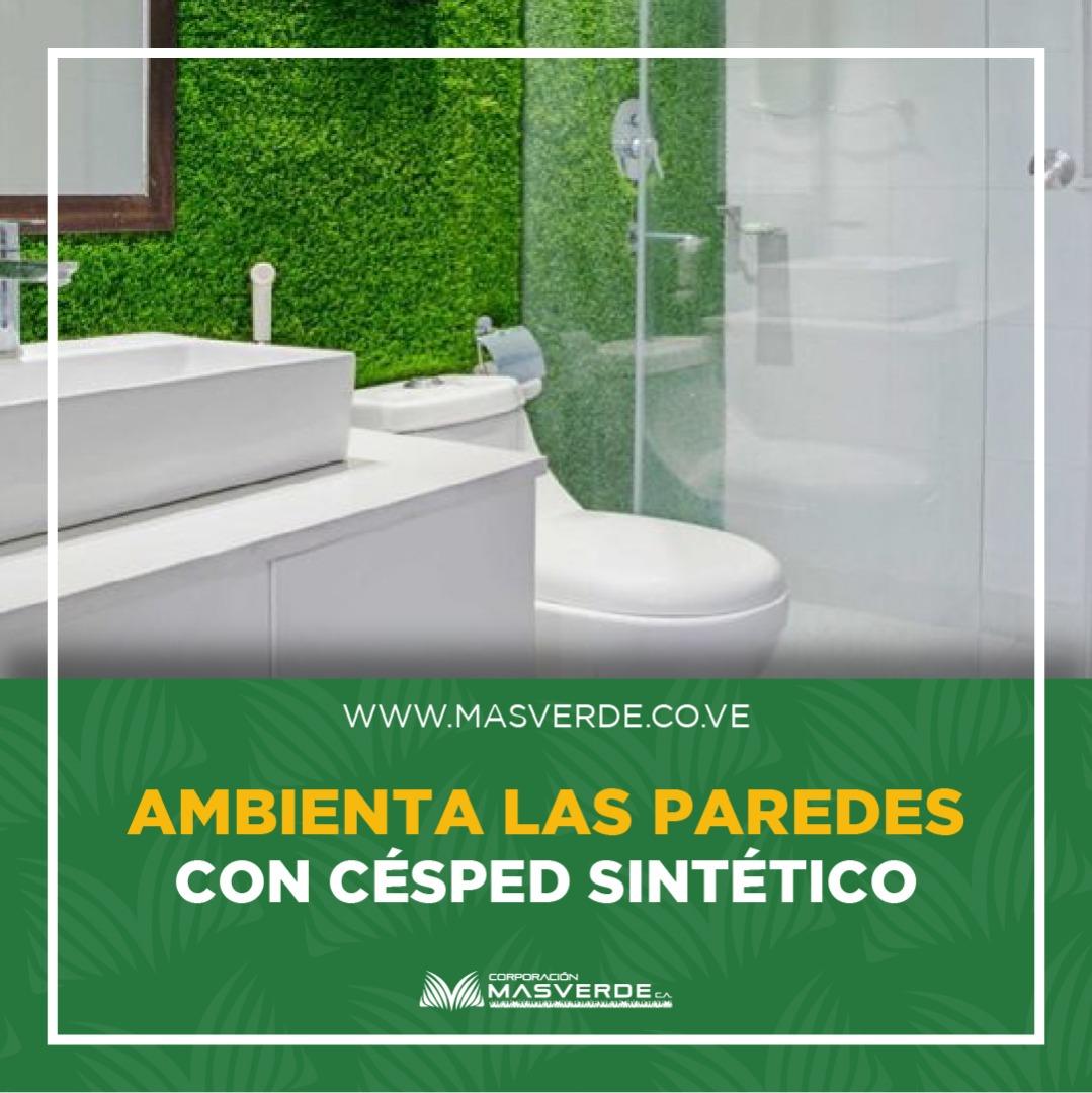 Decoración de pared de baño con césped sintetico
